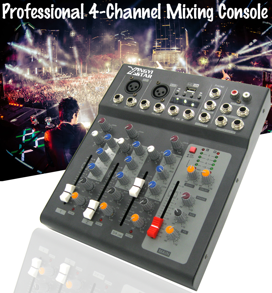 Professional 4 Channel 48V Power USB Microphone Audio Mixer Console Digital Stereo Sound Effect For DJ KTV Karaoke Studio Stage