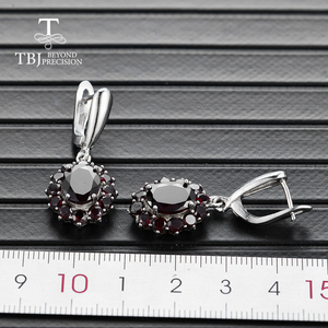 Image 4 - TBJ,natural gemstone black garnet earrings 925 sterling silver fine jewelry for woman birthday party & daily wear nice gift