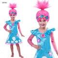 Trolls Deguisement Traje Para Adolescente Vestido Da Menina 2017 Criança Longos manga Flor Do Laço de Tule Princesa Festa Vestido de Fadas 10 11 12 T