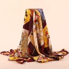 110x110cm Women Bandanas Multifunction 100% Silk Scarf Prints Large Square Shawls and Scarves Foulard Neckerchief F511