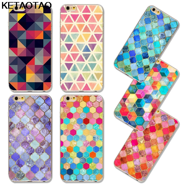 KETAOTAO Colorful Geometric Charts Phone Cases for iPhone 4S 5C 5S 6 6S 7 8  Plus X Case Crystal Clear Soft TPU Cover Cases