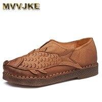MVVJKE Folk style Flat Shoes Women Retro Handmade Shoes Sandals Fish Shoes Genuine Leather Soft Flats Casual Driving Shoe
