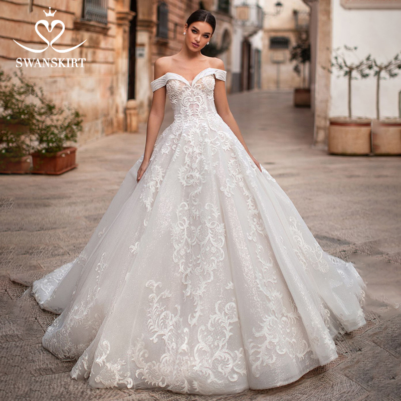 Swanskirt Sweetheart Wedding Dress 2019 Elegant Off The Shoulder Ball Gown Appliques Princess Vestidos De Fiesta De Noche K151