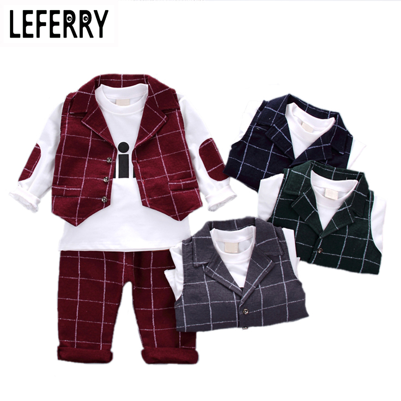 2018 New Autumn 3PCS Kids Clothes Boys Baby Clothing Sets Vest Shirt Pants Toddler Boys Clothes Set Wedding Outfits Birthday bibicola spring autumn baby boys clothing set sport suit infant boys hoodies clothes set coat t shirt pants toddlers boys sets
