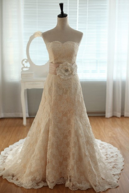 Online Shop Vintage Inspired French Corded Lace Wedding Dress
