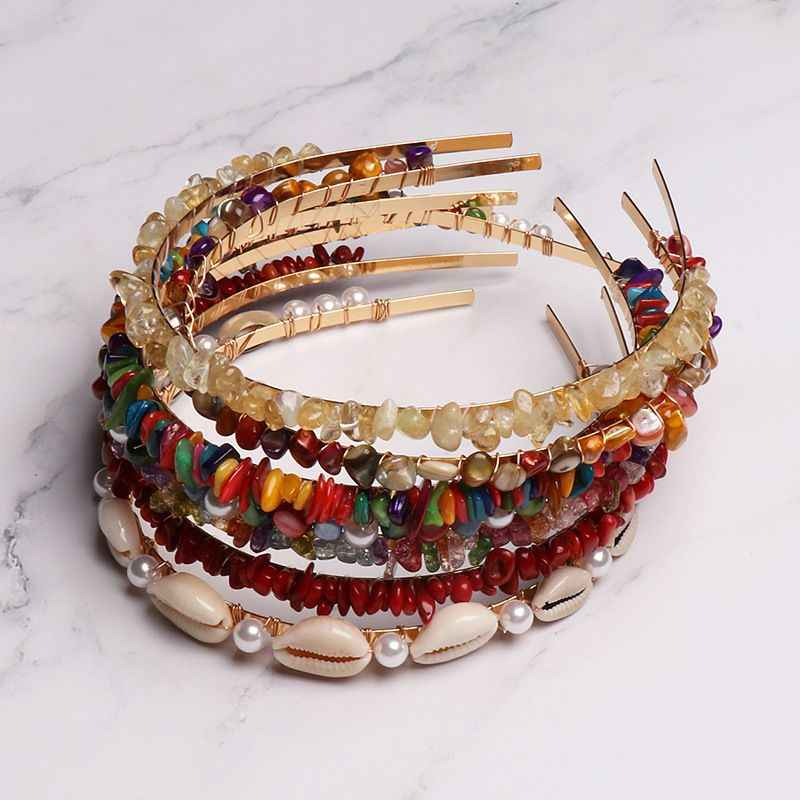Fashion Colorful Stones Shell Conch Hairbands Metal Gold Color Headbands Beach Vacation Jewelry for Women Hair Accessories
