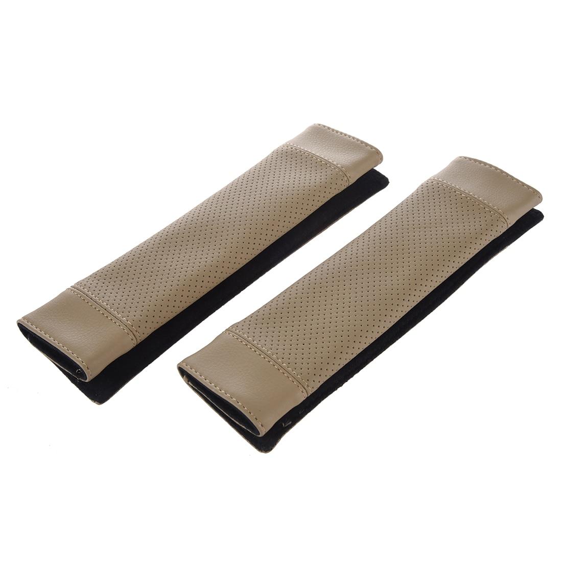 2Pcs PU Leather Car Seat Belt Shoulder pads Cover beige