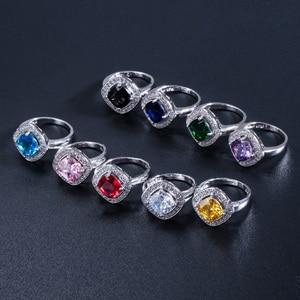 Женские серебряные кольца Pera, вечерние кольца с квадратным желтым кристаллом и камнями из фианита, 9 цветов, R024