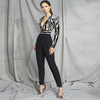 Long Sleeve V-Neck Sequined Sexy Night Out Black Full Length Jumpsuit