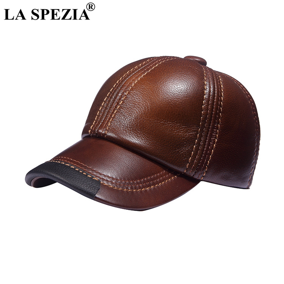 LA SPEZIA Brown Baseball Caps Men Genuine Leather Casual Peaked Hat Male Adjustable Winter Natural Leather Luxury Baseball Hats hl171 f spring genuine leather baseball sport cap hat men s winter warm brand new cow skin leather newsboy caps hats 5 colors