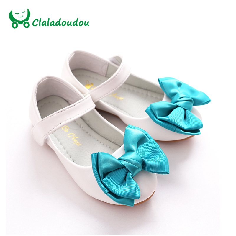 Claladoudou 16-22.5 см детская обувь для девочек белый принцесса студент Искусственная кожа бабочкой Обувь для танцев для детей свадьба выполнить Обувь