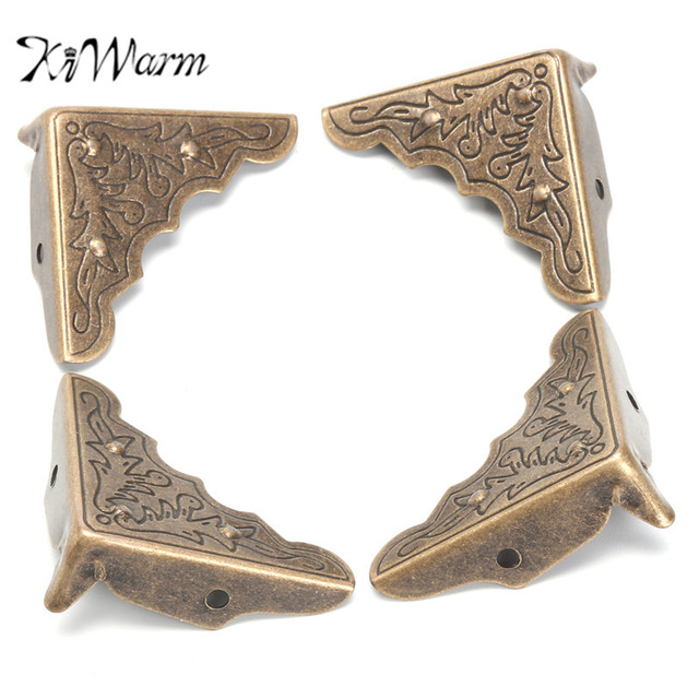 Kiwarm 12pcs Antique Br Furniture Corner Brackets Jewelry Gift Box Wood Case Decorative Feet Leg Metal
