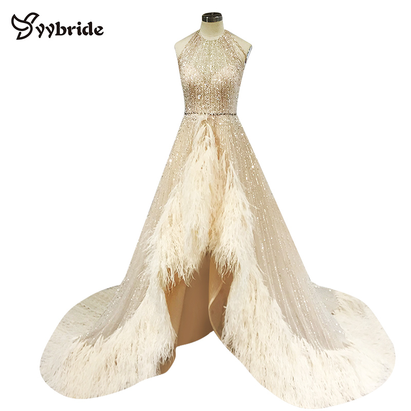 Celebrity Dresses Halter Neck Crystal Luxury Evening Dress Sleeveless Feather Prom Dress Backless Beading Actual Images Dresses