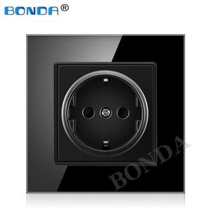 Image 2 - Bonda eu標準ホワイトブラックゴールドクリスタルガラスパネルac 110 250v 16A壁電源Socket16A 2100ma電気壁電源ソケット