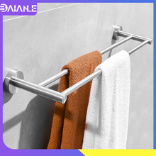 Doubel Towel Bar Stainless Steel Brushed Shower Towel Rack Hanging Holder Wall Mounted Bathroom Towel Holder Storage Rack Shelf все цены