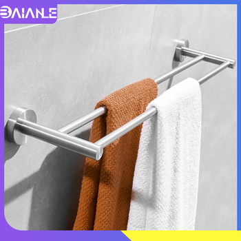 Doubel Towel Bar Stainless Steel Brushed Shower Towel Rack Hanging Holder Wall Mounted Bathroom Towel Holder Storage Rack Shelf towel holder stainless steel doubel towel bar holder bathroom towel rack hanging holder wall mounted toilet clothes hanger shelf