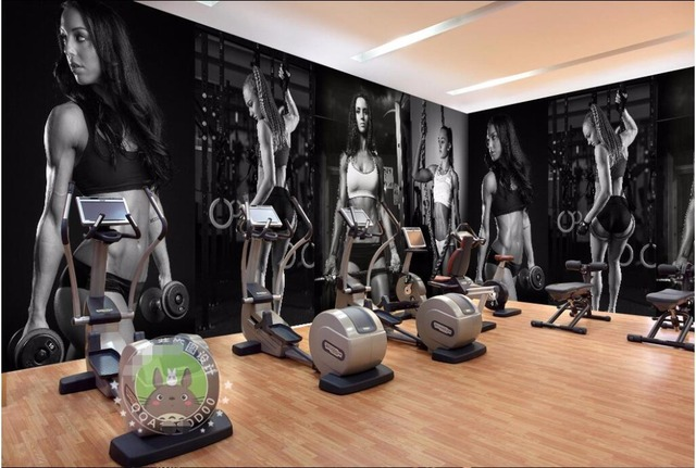 Wdbh custom mural 3d photo wallpaper gym sexy black and white photo