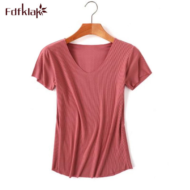 Fdfklak New short sleeve female <font><b>T</b></font>-shirt modal cotton <font><b>t</b></font> shirt <font><b>sexy</b></font> v-neck summer <font><b>T</b></font> shirts women tops tee shirt <font><b>femme</b></font> <font><b>haut</b></font> 2019 image