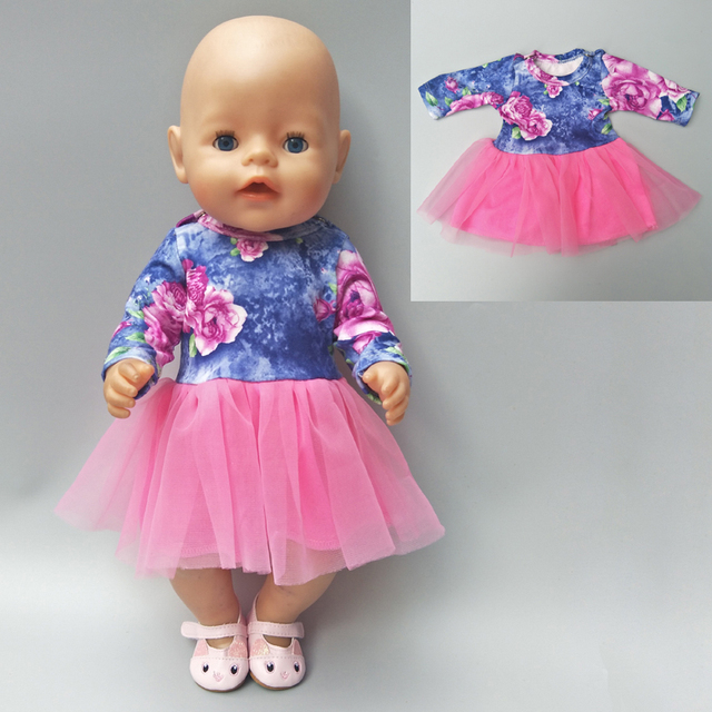 For 43cm baby dolls clothes lastic shirt lace dress for 18″ baby doll clothes pants for 18 inch girl doll baby gifts