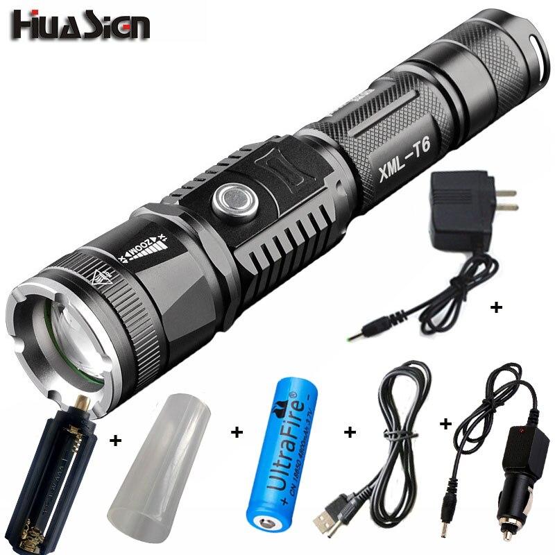 Professionnel Rechargeable Portable Zoomables Lumières 5 Modes CREE XML T6 LED 18650 & AAA lampe de Poche Powerbank Fonction Led Torche