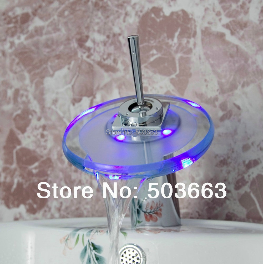 New Waterfall 3 Colors LED Need Battery Bathroom Basin Mixer Tap Sink Glass Chrome Brass Deck Mounted Faucet L-259 flg free shipping 3 pcs tap waterfall bathroom basin sink bathtub mixer faucet chrome finish with strainer deck mounted taps 303