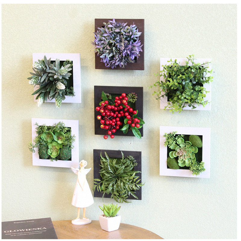 3D Creative metope succulent plants Imitation wood photo frame wall decoration artificial flowers home decor living Room