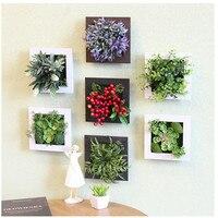 3D Yaratıcı metope etli bitkiler Imitasyon ahşap fotoğraf çerçevesi duvar dekorasyon yapay çiçekler ev dekor oturma Odası