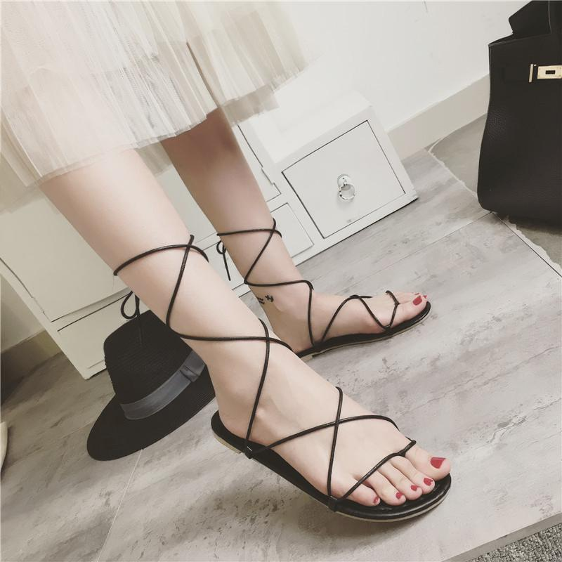 New Gladiator Cross Tied Flat Sandals Women Casual Strappy Summer Shoes Beach Sandals Black Beige Woman Flip Flops Sandale Femme maybelline new york для век color tattoo 24 часа оттенок 65 розовое золото 3 5 мл