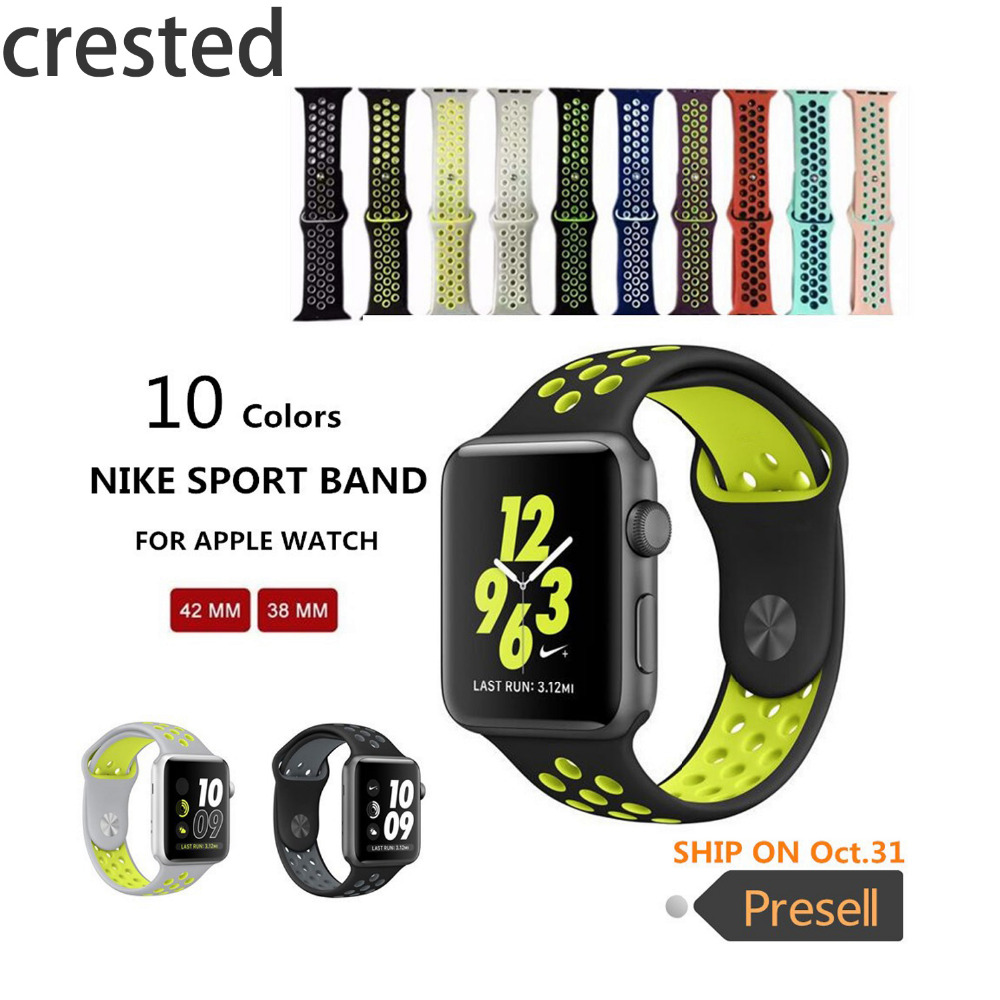 CRESTED Original sports Silicone strap for iwatch Series1 2 NIKE apple watch band 42mm men Rubber bracelet wrist With Adapter