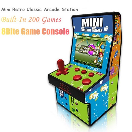 8Bit Mini Portable Retro Arcade Station 2.5'' Handheld Video Coin Operated Game Console One Players Built-in 200 Classic Games