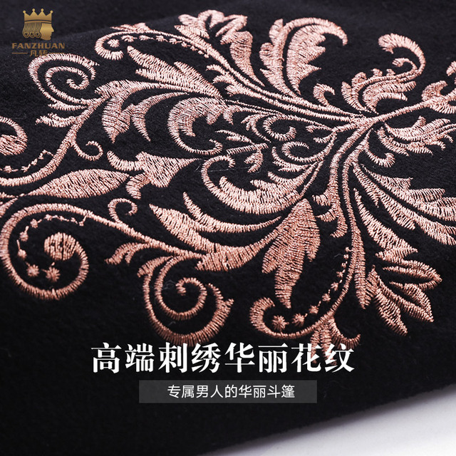 Fanzhuan Free Shipping New male man men fashion lapel woolen coat 2017 winter baroque trumpet sleeve long embroidery coat 710179