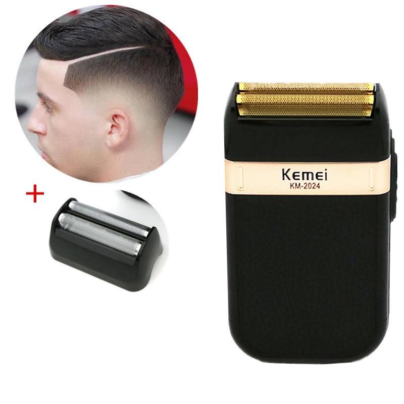 kemei navalha alternativo barbeador eletrico para homens lamina dupla a prova d agua sem fio usb