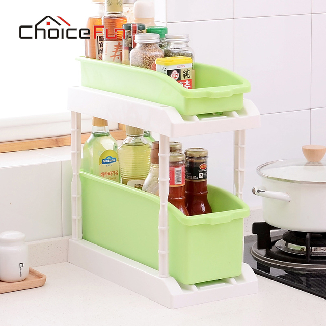 CHOICE FUN 2 Layer Plastic Accessories Kitchen Organizer Goods Utensil Storage Shelf Spice Rack