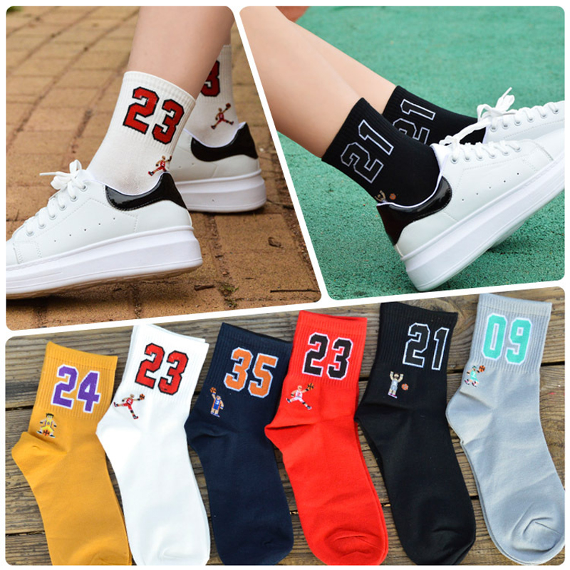 1 Pair Unisex  Cotton Fashion Sports Socks Cartoon Characters And Digital Patterned Basketball Socks For Spring Autumn Winter