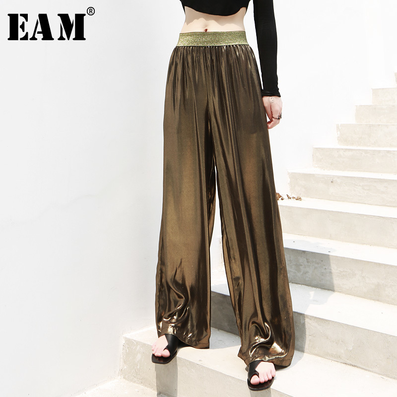 [EAM] 2019 New Spring Summer High Elastic Waist Loose Shining Blingbling Long   Wide     Leg     Pants   Women Trousers Fashion Tide JU701