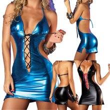 Women Sexy Faux Leather Mini Dress Sexy Nightwear Night Club Wear Pole Dancing Temptation Sexy Lady Lingerie -MX8