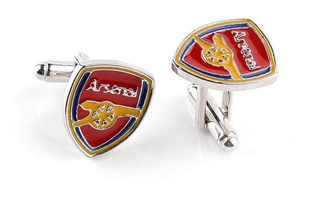 2017!popular Alloy Rhodium Plated Enamel Football Club Team Pendant Men's Cufflinks