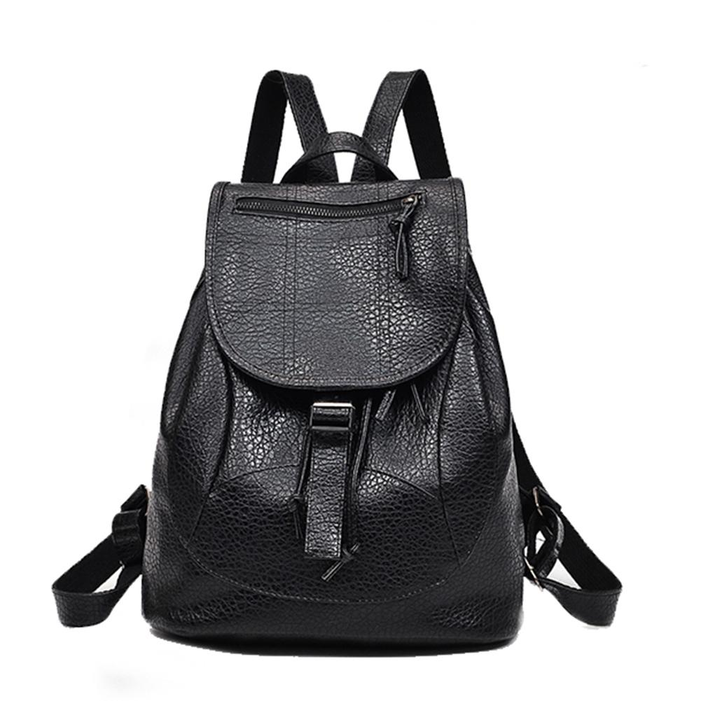 5f7ef5090e5 2018 New Fashion Travel School Plain Faux Leather Backpack Fashion Women  Students Shoulder Bag Rucksack -in Backpacks from Luggage & Bags on ...