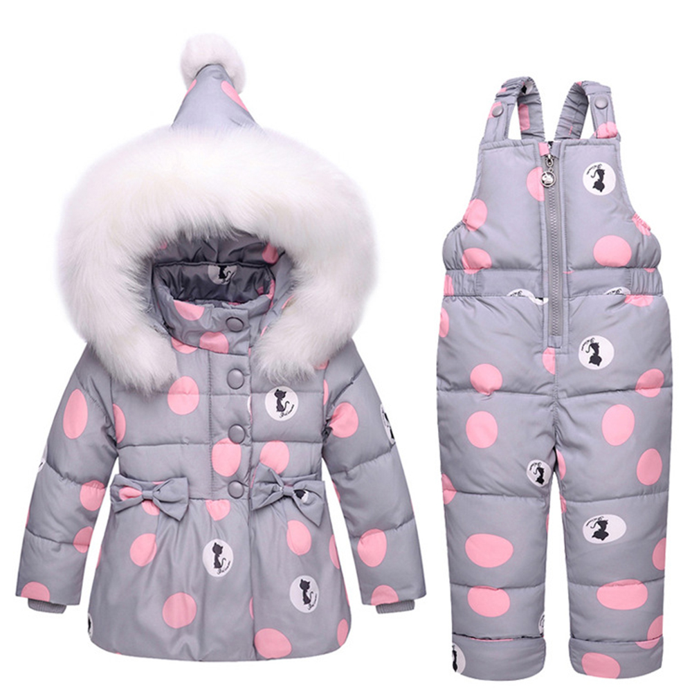 Baby Winter Overalls Snowsuit for Girls Boys Duck Down Bowknot Polka Dot Hoodies Jacket and Jumpsuit Set Winter Coveralls Coat цена
