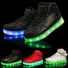 2017 Fashion High-top Дитячі світлодіодні світлові кросівки USB Акумуляторні хлопчики Спортивні салони взуття Дівчата Барвисті миготливі вогні взуття