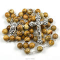 Moda católica rosario hecho por 8mm ronda naturales de cuentas de piedra