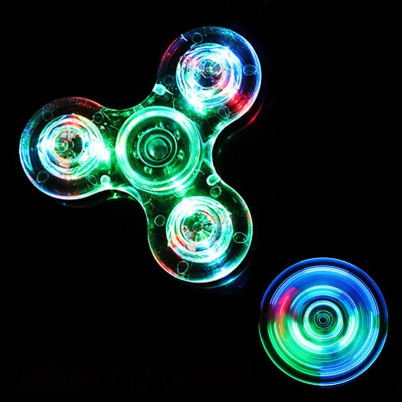 Luminous LED light Fidget Spinner Hand Top Spinners Glow in Dark Light EDC Figet Spiner Finger Stress Relief Toys 3