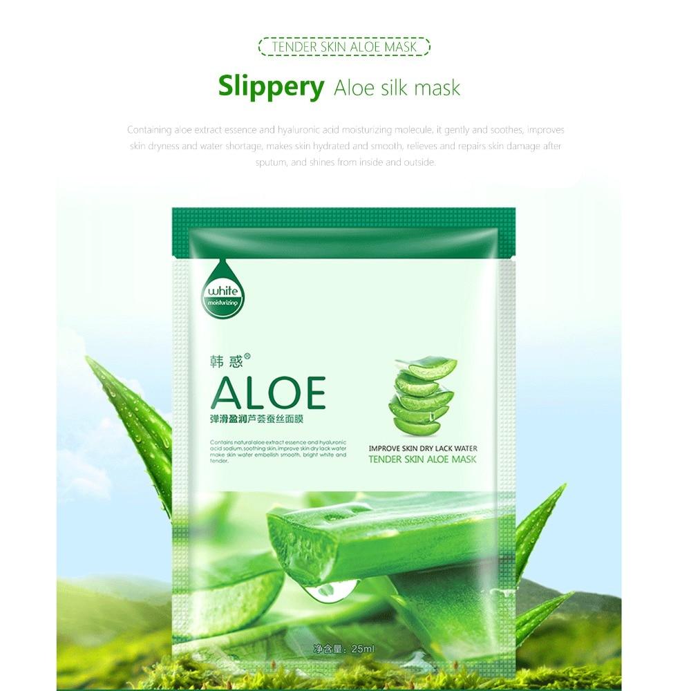 10Pcs Face natural silk Mask Cucumber Cucumber/Aloe vera/Bird's nest/Green tea/Cherry/pearl Facial Mask Moisturizing Beauty Mask 2