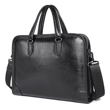 Black Laptop Briefcase Leather Business Bag Messenger Men Handbag Mens Briefcases 7402A