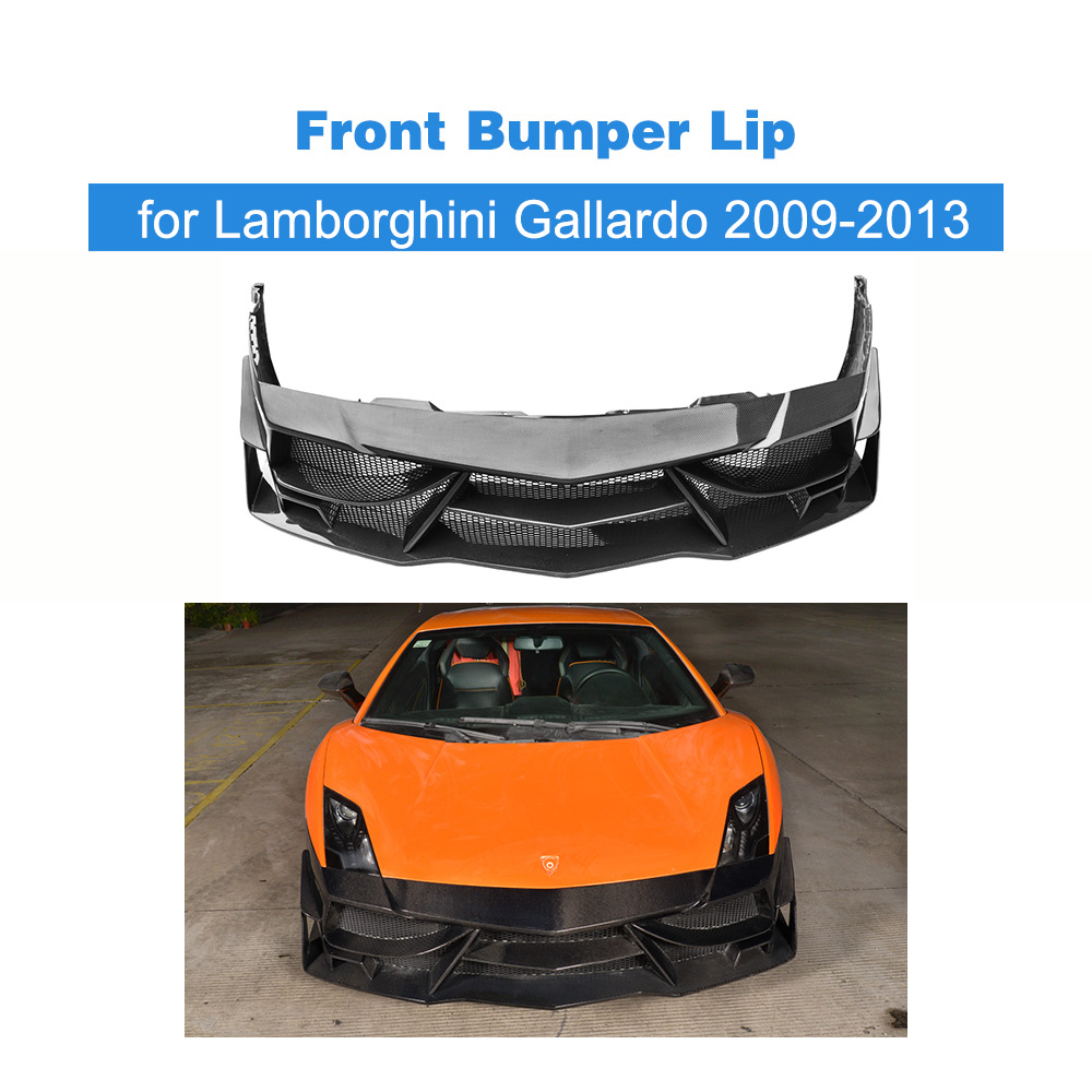 Carbon Fiber Front Bumper Lip Spoiler Case for Lamborghini Gallardo Coupe Convertible LP550 LP560-4 LP570-4 09-13 FRP Unpainted