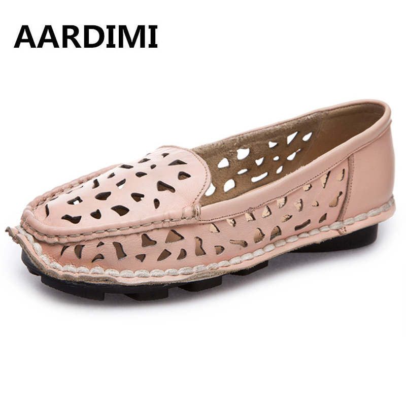 Genuine leather summer women flats shoes vintage cut-outs casual shoes for woman sewing round toe flat with flat shoes woman