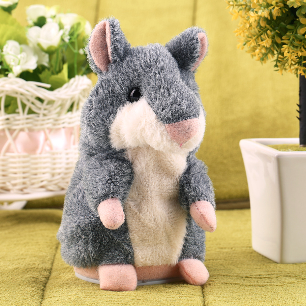 Tiny Soft Talking Hamster Plush Toy Hot Cute Speak Talking Sound Record Hamster Talking Toys for Children Gifts for the New Year