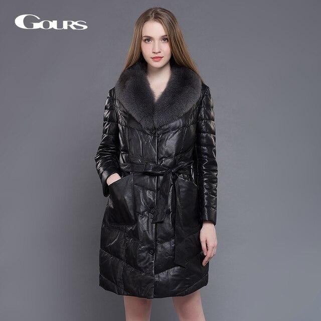 0619c87536976 Gours Women s Genuine Leather Duck Down Coat Winter Warm Black Sheepskin  Long Overcoats Parka with Fox Fur Collar Plus Size 5XL