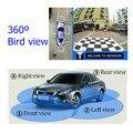 Sistema Monitor Del Coche Universal de 360 Grados de Vista de pájaro Vista Panorámica, todo sistema de Cámara de Visión para todo el coche con DVR de grabación USB