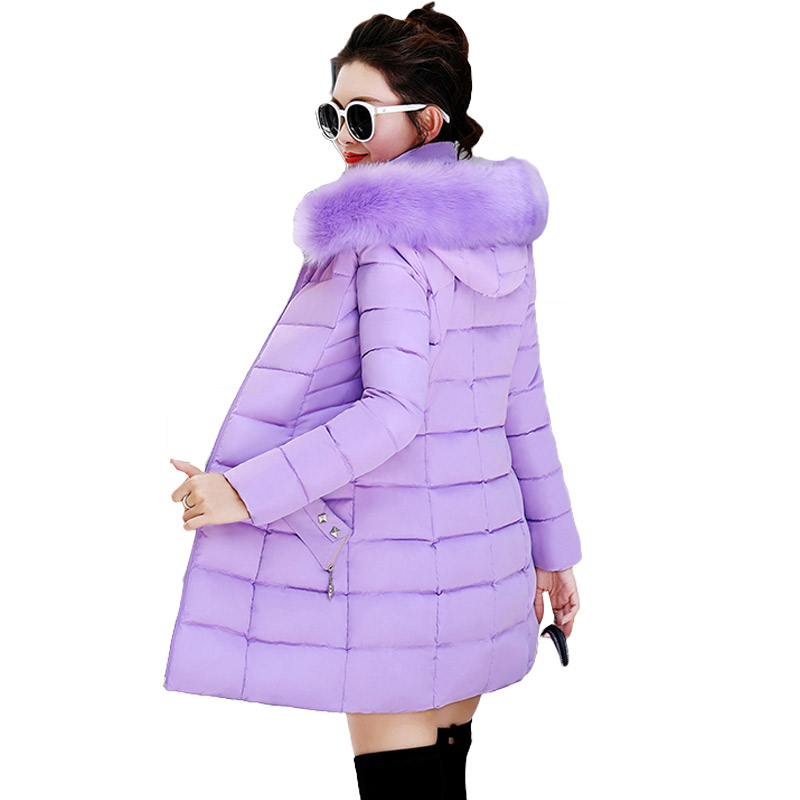 LZMZA Long Thicken Coat Winter Jacket Women   Parka   2018 Fashion Zipper Hooded Coat Cotton Padded Slim Jacket with Fur Collar